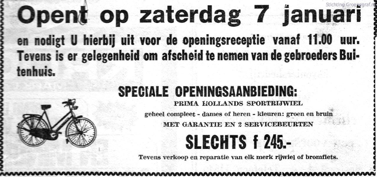 Openingsadvertentie Arnold van Eijden Tweewielers