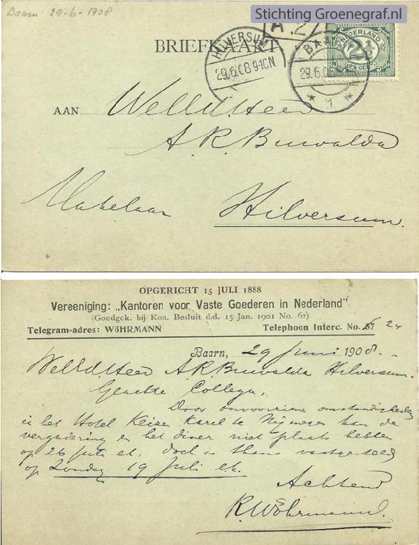 Briefkaart makelaar Rutger Wöhrmann