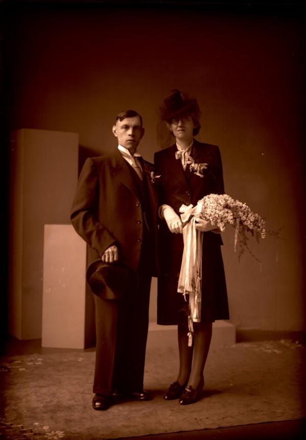 Bruidspaar Willem de Koning en Jannetje de Roos