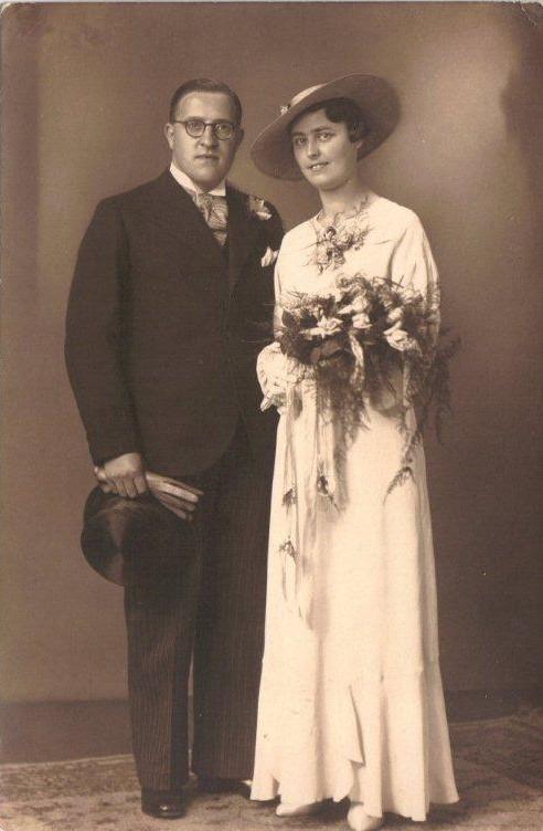 Mani Leonard Jozef (Leo) de Block en Johanna Elisabeth Francisca Scheel trouwfoto