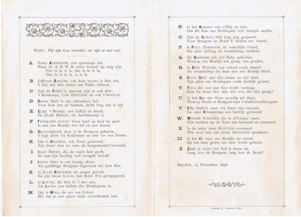 Huwelijks ABC van Elsje Greidanus en Johannes Albert Jacob Smit