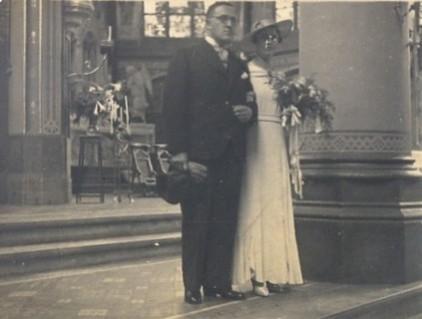 Marie Leonardus Jozef de Block en Johanna Elisabeth Francisca Scheel trouwfoto