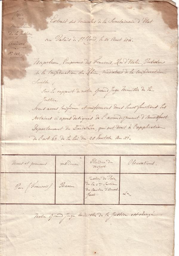 Uittreksel aanstelling Frans Pen als Maire van Baarn deel 1