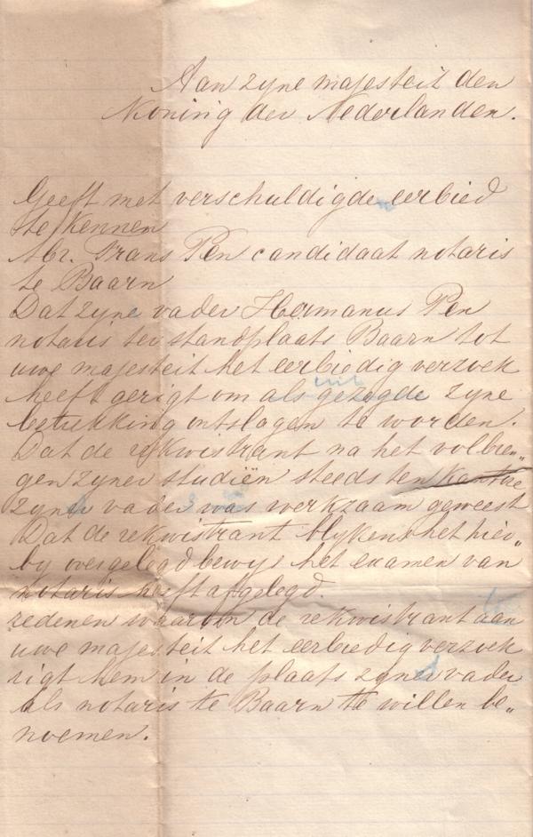 Foto  Verzoek tot aanstelling Franciscus Pen als notaris te Baarn deel 2