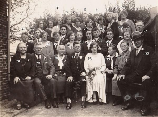 Familieportret bruidspaar Willem Stroo en Tijmetje Limper