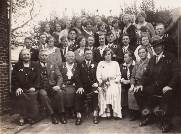 Foto  Familieportret bruidspaar Willem Stroo en Tijmetje Limper