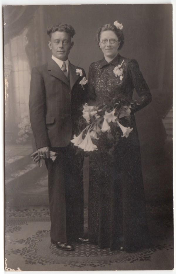 Herman van Egdom en Trijntje Tetje Cornelisje Beukema, trouwfoto