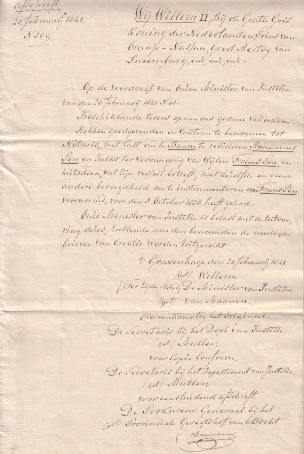Aanstelling Harmanus Pen als notaris te Baarn door Willem II Afschrift