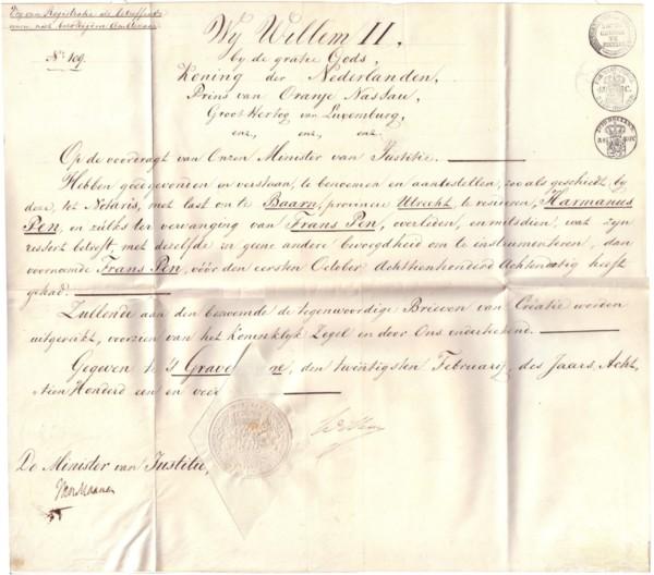 Aanstelling Harmanus Pen als notaris te Baarn door Willem II origineel