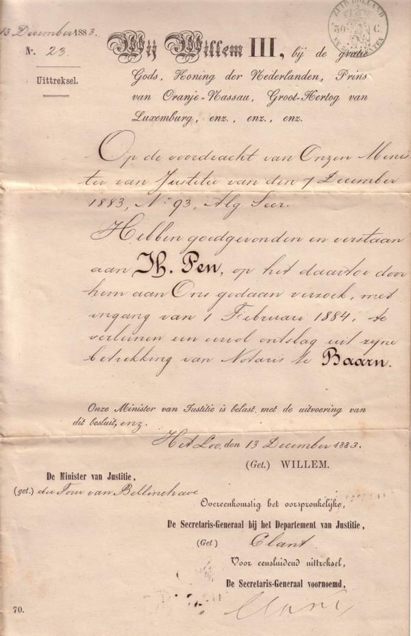 Harmanus Pen ontslag door Koning Willem III