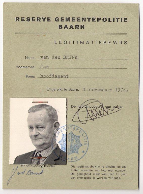 Legitimatiebewijs Jan van den Brink, reservepolitie