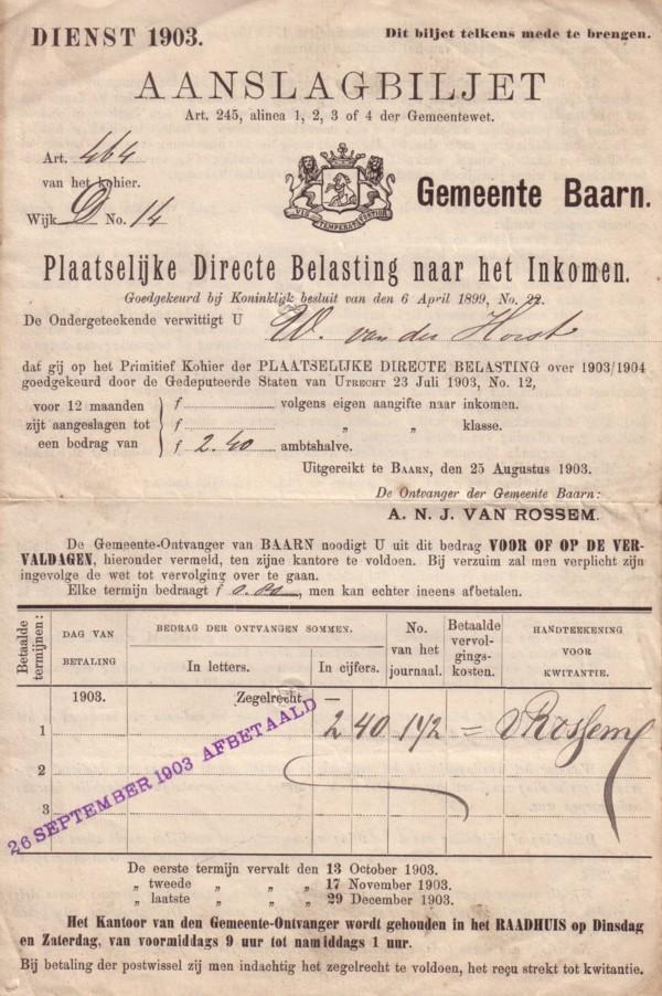 Aanslagbiljet Gemeente Baarn 1903