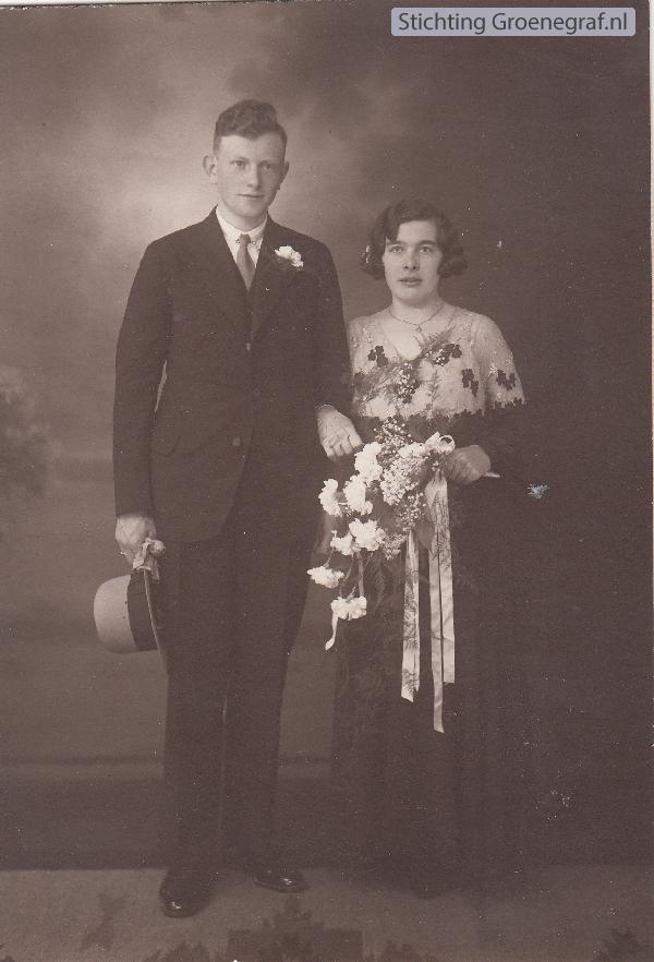 Bertus Kalf en Johanna Hendriksen trouwfoto