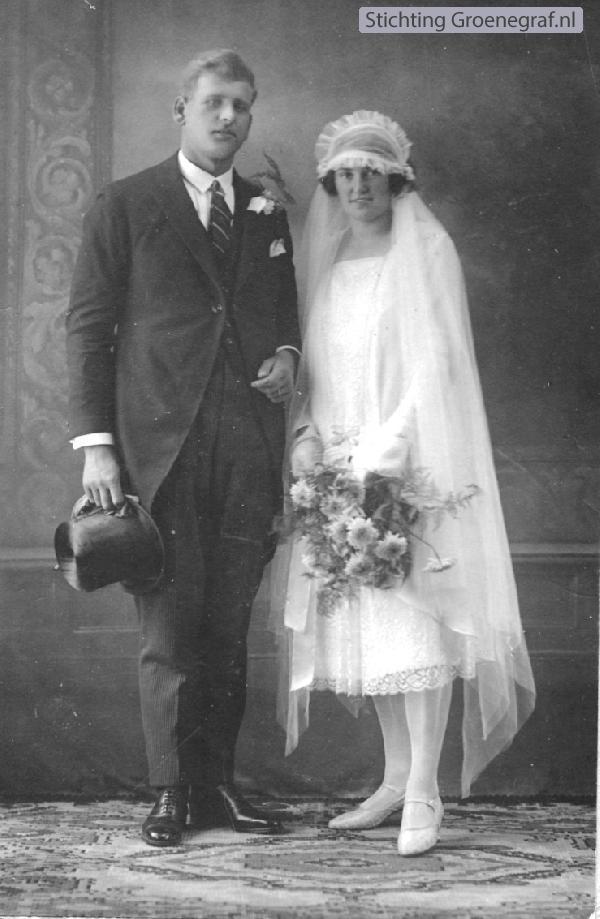 Jan Cornelis van der Woord en Jacoba Anna van Kooi trouwfoto
