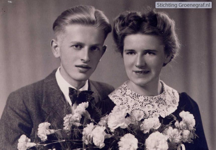 Nicolaas Verburg en Johanna Hendrika van der Flier trouwfoto