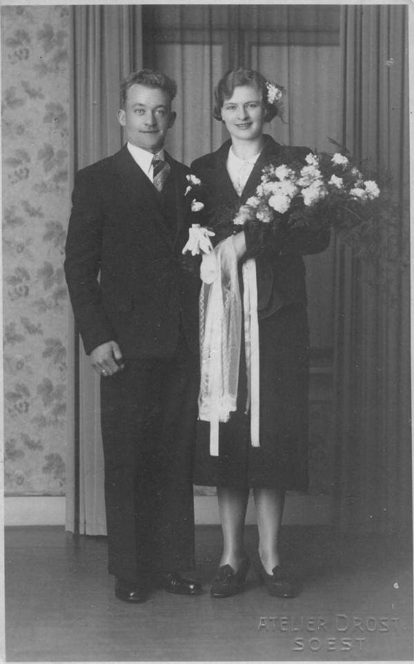 Hendrikus Johannes van der Wardt en Adriana van den Broek trouwfoto
