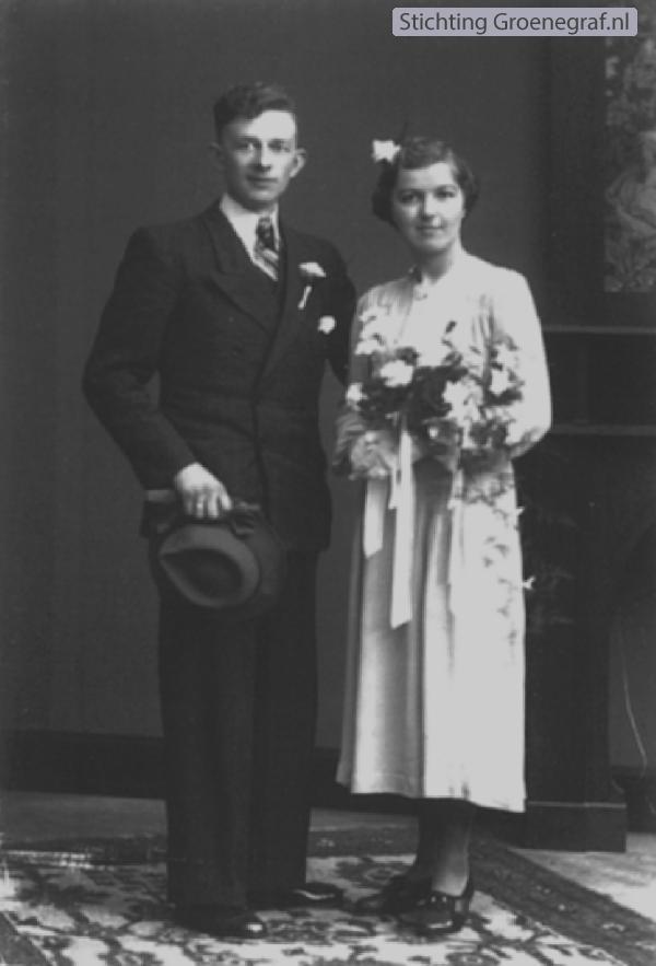 Cornelis Barlo en Wilhelmina de Boer trouwfoto