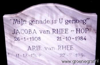 Grafmonument grafsteen Arie van Rhee