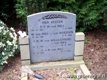 Grafmonument grafsteen Fredrik Pieter Willem van Mill