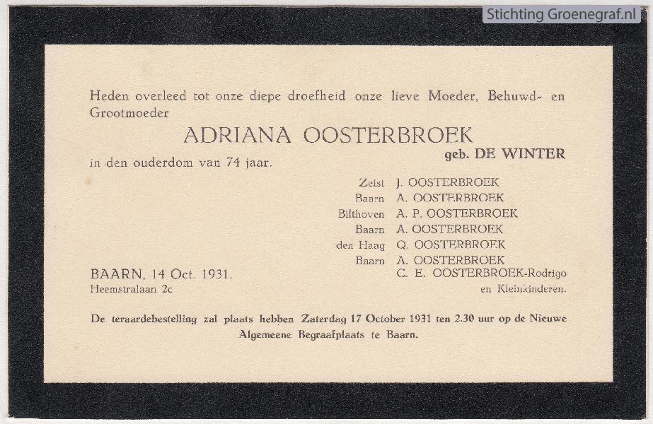 Overlijdensscan Adriana de Winter