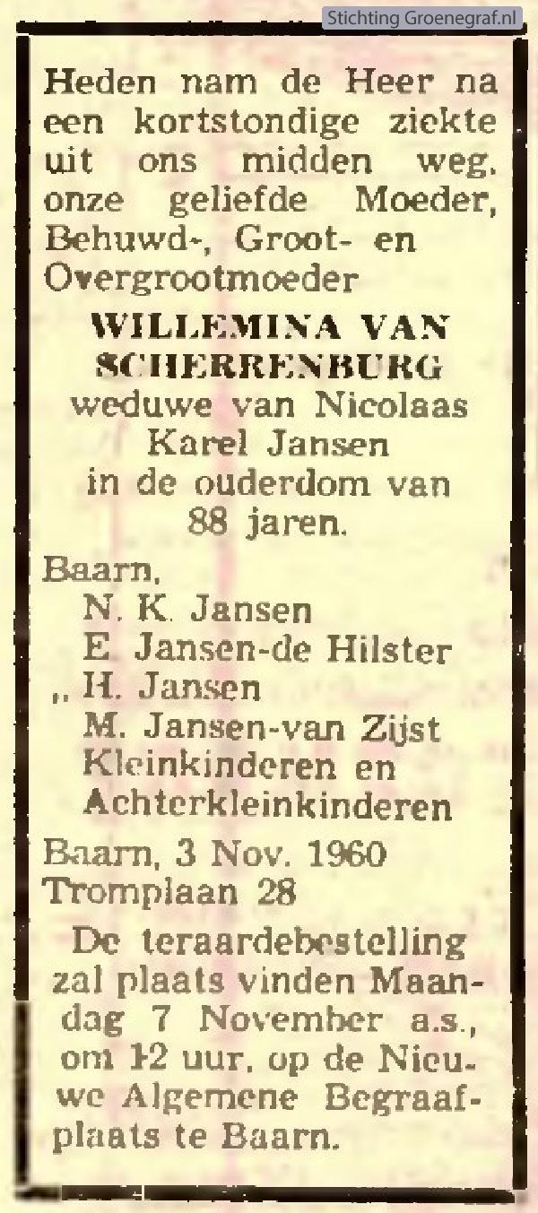 Overlijdensscan Willemina van Scherrenburg
