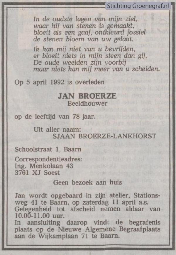 Overlijdensscan Jan  Broerze