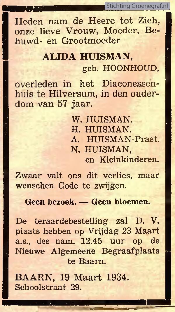 Overlijdensscan Alida  Hoonhoud