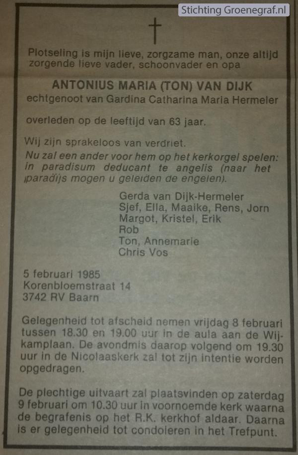 Overlijdensscan Antonius Maria van Dijk