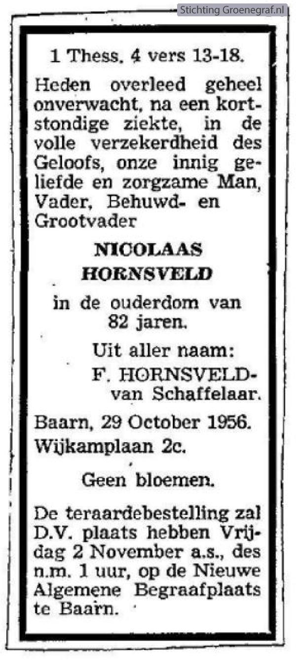 Overlijdensscan Nicolaas van Hornsveld