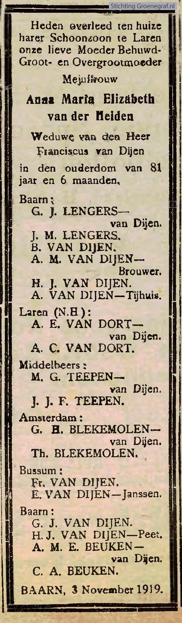 Overlijdensscan Anna Maria Elizabeth van der Heiden