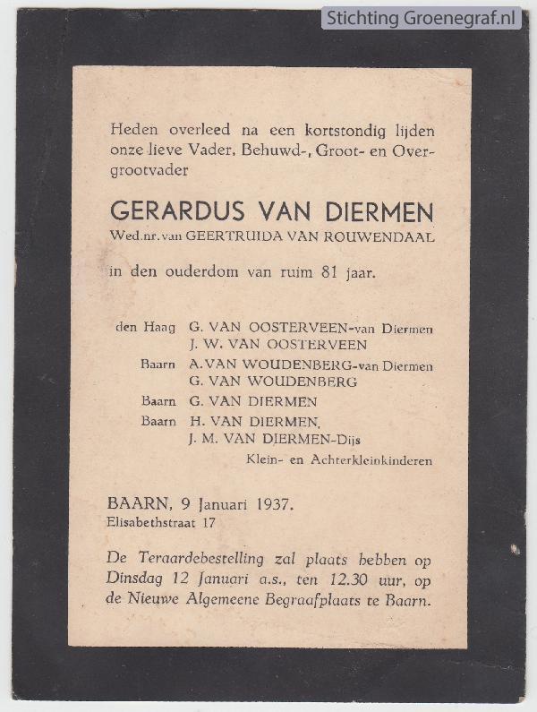 Overlijdensscan Gerardus van Diermen