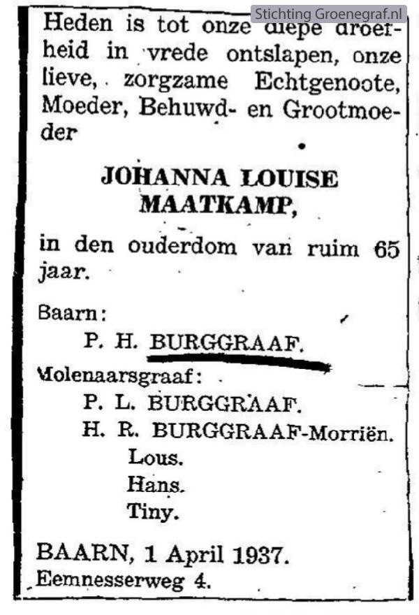 Overlijdensscan Johanna Louisa  Maatkamp