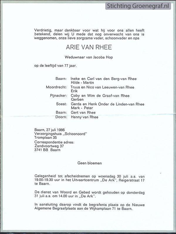 Overlijdensscan Arie van Rhee