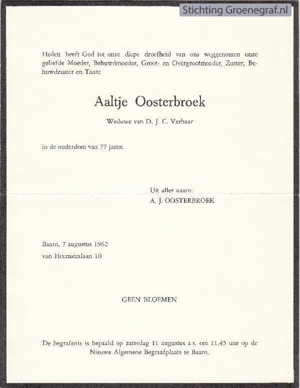 Overlijdensscan Aaltje  Oosterbroek