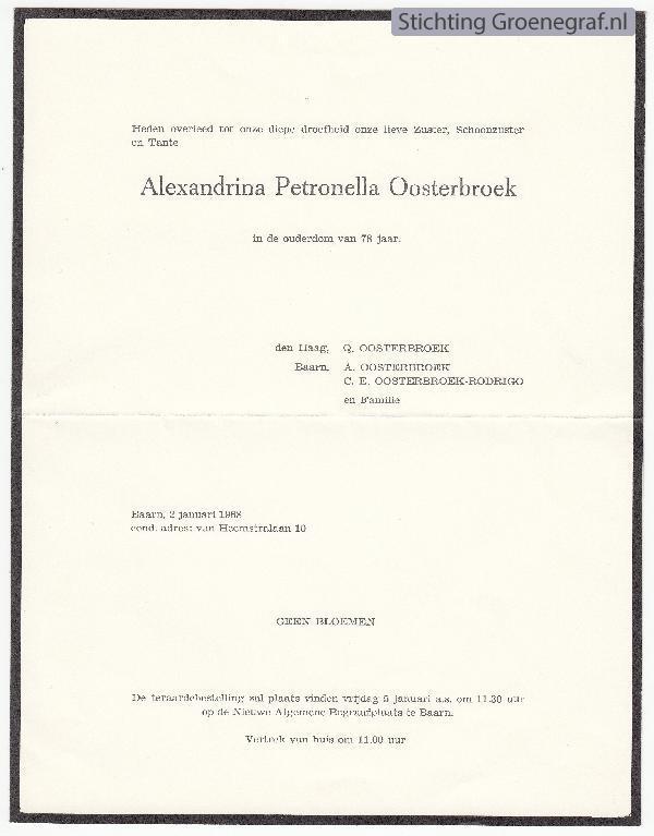 Overlijdensscan Alexandrina Petronella  Oosterbroek