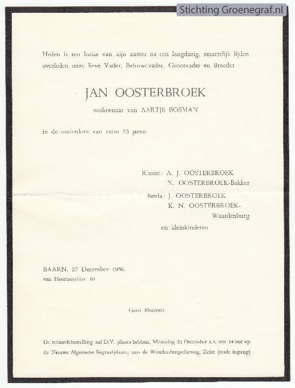 Overlijdensscan Jan  Oosterbroek