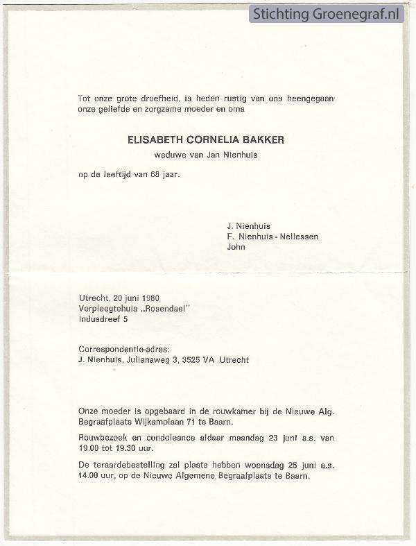 Overlijdensscan Elisabeth Cornelia  Bakker