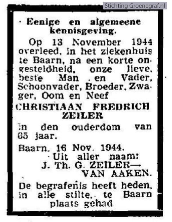 Overlijdensscan Christiaan Fredrich  Zeiler