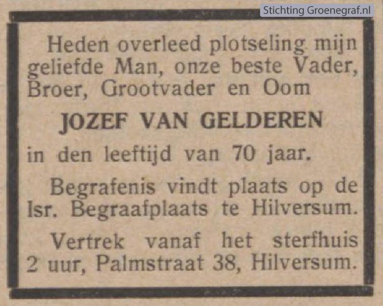 Overlijdensscan Joseph van Gelderen
