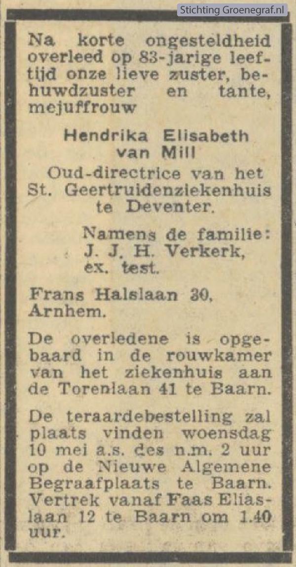 Overlijdensscan Hendrica Elisabeth van Mill