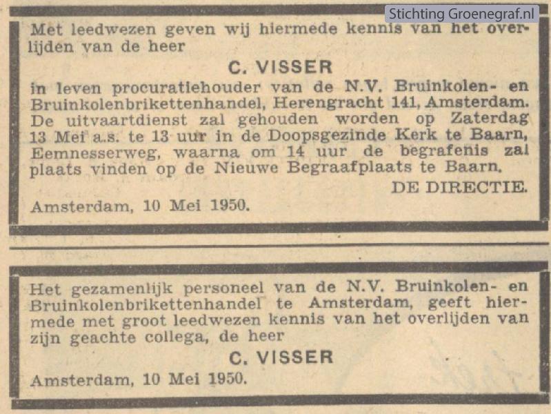 Overlijdensscan Cornelis  Visser