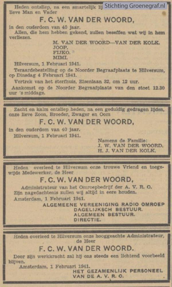 Overlijdensscan Fijko Christiaan Willem van der Woord