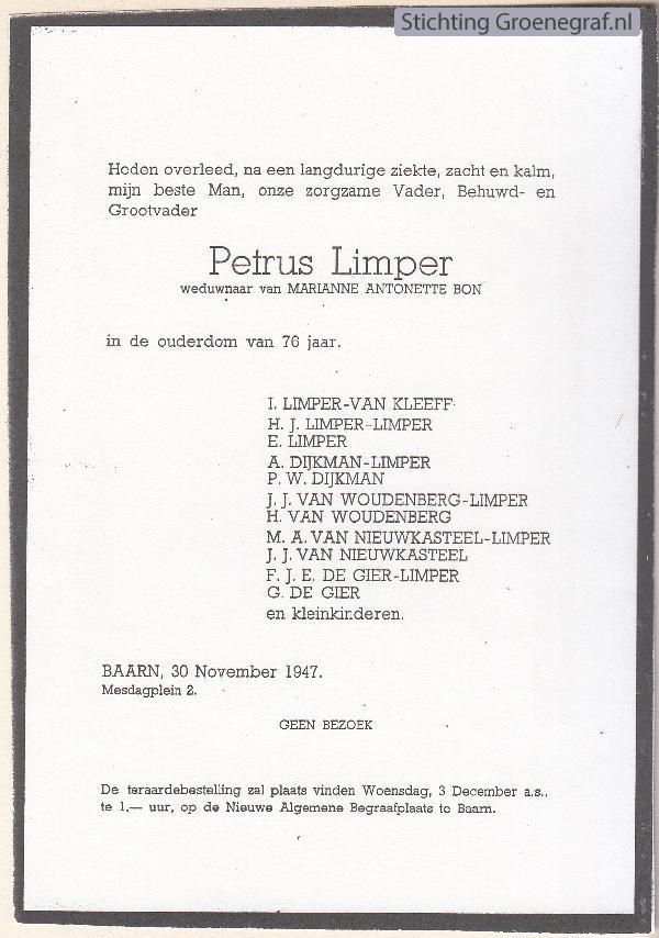 Overlijdensscan Petrus  Limper