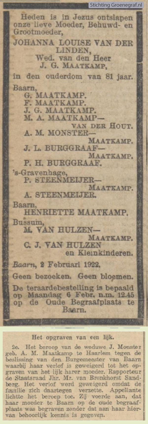 Overlijdensscan Johanna Louiza van der Linden