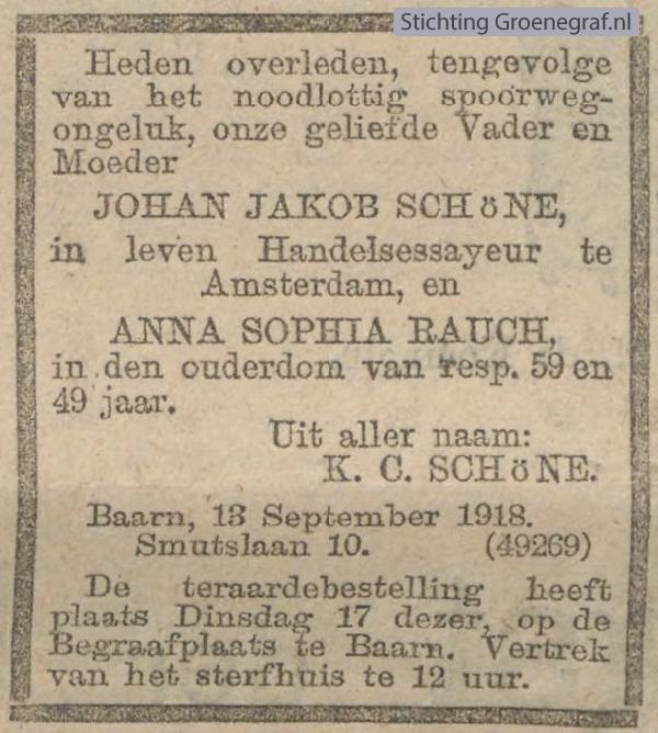 Overlijdensscan Johan Jacob  Schöne