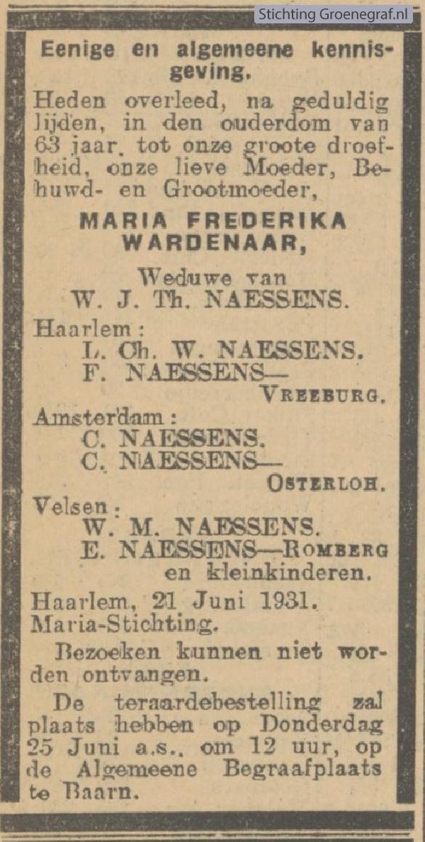 Afbeelding bij Maria Frederika  Wardenaar