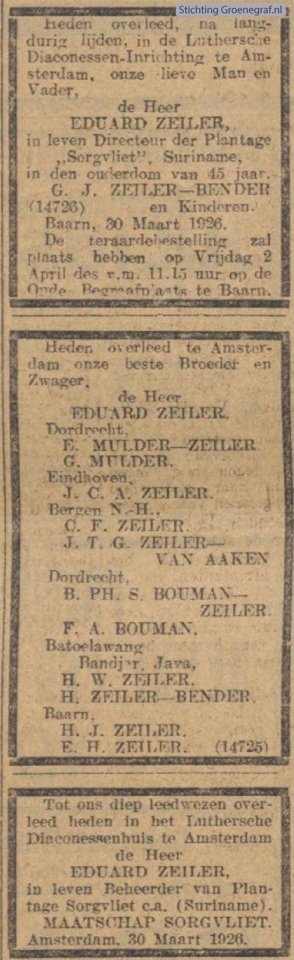 Overlijdensscan Eduard  Zeiler