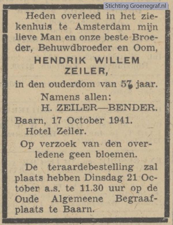 Overlijdensscan Hendrik Willem  Zeiler
