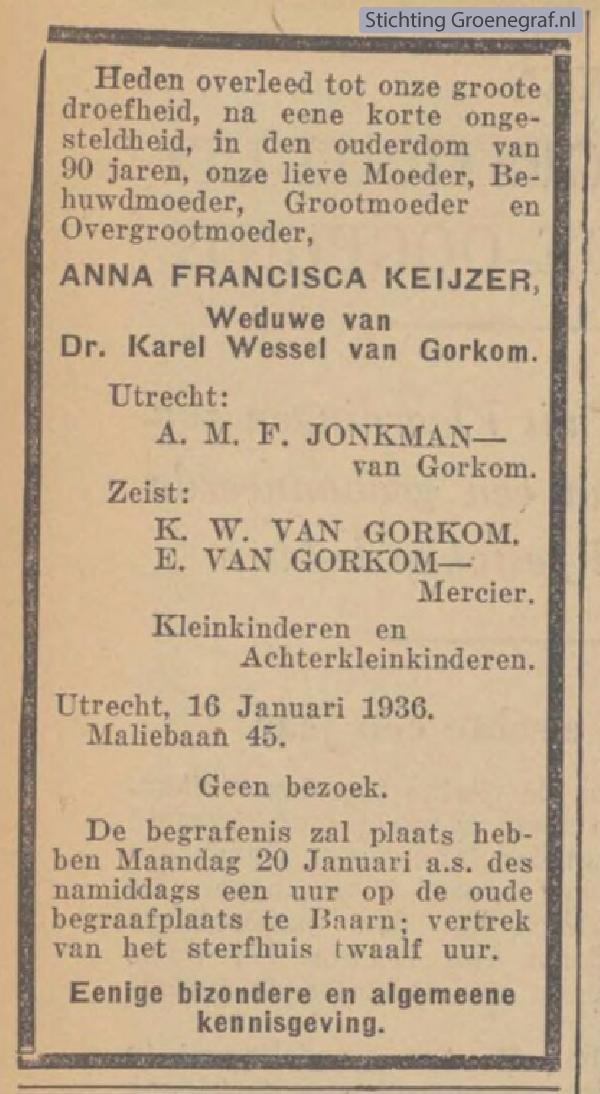 Overlijdensscan Anna Francisca  Keijzer