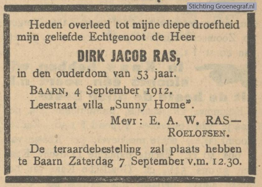Overlijdensscan Dirk Jacob  Ras